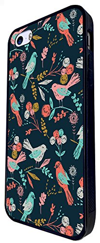 1173 - Floral Shabby Chic Retro Multi Birds Design iphone SE - 2016 Coque Fashion Trend Case Coque Protection Cover plastique et métal - Noir