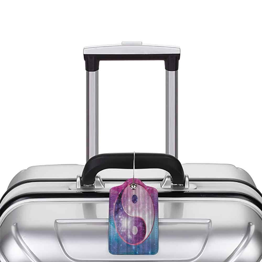 Multi-patterned luggage tag Boho Chinese Symbol Peace Zen Bohemian Galaxy Outer Space Astronomy Infinity Starlights Art Double-sided printing Purple Pink Teal Navy White W2.7 x L4.6