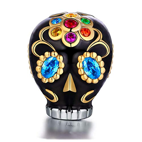 FOREVER QUEEN Skull Charms fit Pandora Charms Bracelets, 925 Sterling Silver Sunflower Dia De Los Muertos Bead Multicolor CZ Charm for European Bracelets& Necklace, Best for Women Girls FQ0036 -