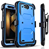 LG X Power 2 Case, LG Fiesta LTE Case, LG X Charge Case, Circlemalls [SUPER GUARD] Dual Layer Hybrid Protective Cover With [Built-in Screen Protector] Holster Belt Clip + Touch Screen Pen Blue