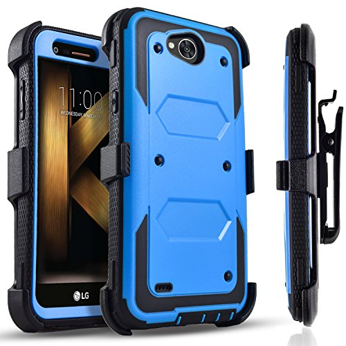 LG X Power 2 Case, LG Fiesta LTE Case, LG X Charge Case, Circlemalls [SUPER GUARD] Dual Layer Hybrid Protective Cover With [Built-in Screen Protector] Holster Belt Clip + Touch Screen Pen Blue by CircleMalls