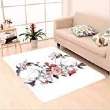Nalahome Custom carpet Roses and Skull Feast of All Saints Catholic Tradition Illustration Art Print Coral Lilac White area rugs for Living Dining Room Bedroom Hallway Office Carpet (22''x36'')
