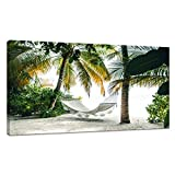 JLXart Canvas Wall Art View on Hammock Between Two Palm Trees on The Beach with White Sand Beach Landscape Wall Art for Living Room Bedroom Artwork Natural Picture Canvas Prints Ready to Hang