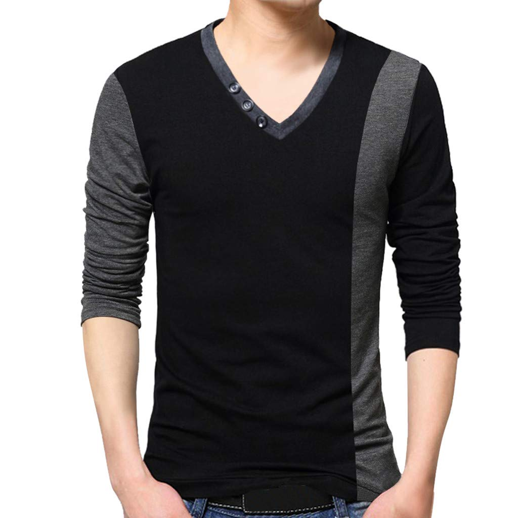 NUWFOR Men's New Fashion Standing Collar Men's Long Sleeve T-shirt Pure Blouse Top(Black,S US/L AS Bust:36.9'')