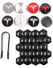 DESLE Tesla Model 3, Tesla Model S, Tesla Model Y,Aero 4 Wheel Cap Kit and 20 Wheel Lug Nut Cover Tesla Model 3 Accessories (Silver with Silver Logo)