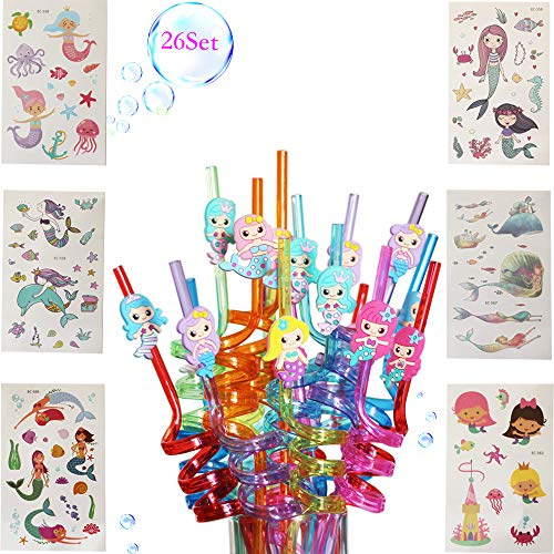 Mermaid Party Supplies Drinking Plastic Straws -Reusable Mermaid Straws Mermaid Temporary Tattoos for Kids Birthday Decorations Set of -