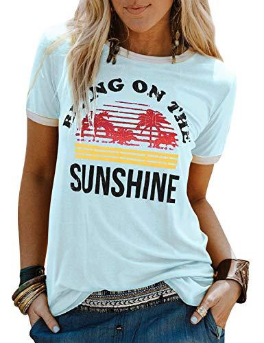 Nlife Women Casual Bring On The Sunshine Letter Print Dri-Fit T-Shirt Women Short Sleeve T-Shirt Tops (S, Sky Blue) (T-shirt Graphic Sky)