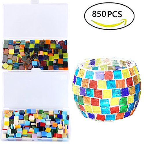850PCS Mixed Color Mosaic Tiles, Stained Transparent Glass Mosaic Pieces with Organizer Box for DIY Crafts Home Decoration, Square Shape, 1 by 1 cm, Aunifun