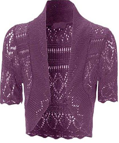 Womens Knitted Bolero Shrug Short Sleeve Crochet Shrug (M, Purple)