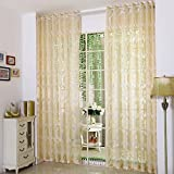 Yiwant Sheer Curtains Embroidery Grommet Curtains, Door Window Balcony Tulle Room Divider , 54 inchs Width x 108 inchs Length, 2 Panels, Gold, Style # 1001-1094 Review