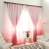 Silk Road Blackout curtains,Princess style Draperies Double layer Window panels For Bedroom Living room Balcony-pink 200x270cm(79x106inch)