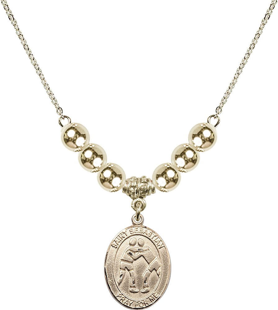Gold Plated Necklace with 6mm Gold Filled Beads & Saint Sebastian/Wrestling Charm. by F A Dumont