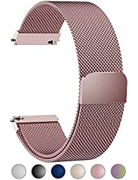 Compatible Gear S3 Bands, Milanese Loop 22mm Watch Band Quick Release Compatible Samsung Gear S3 Frontier/Classic/Huawei Watch 2 Classic Band, Rose Pink
