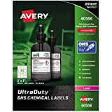 "Avery UltraDuty GHS Chemical Labels for Laser Printers, Waterproof, UV Resistant, 2"" x 2"", 600 Pack (60506)"