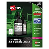 Avery UltraDuty GHS Chemical Labels for Laser Printers, Waterproof, UV Resistant, 2'' x 2'', 600 Pack (60506)