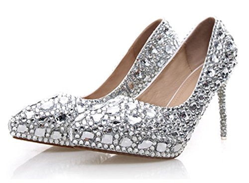 Cristal Glitter Rouge Evening bonne Chaussures qualité white Bridal MNII Heels Wedding Sequins Court Femme Gorgeous Crystal Party Chaussures High 1qwtxA5X