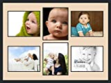 ArtToFrames Collage Photo Frame Double Mat with 6 - 11x14 Openings and Satin Black Frame
