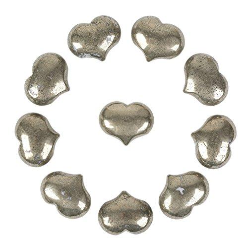 Justinstones Natural Pyrite Gemstone Healing Crystal 1 inch Mini Puffy Heart Pocket Stone Iron Gift Box (Pack of -