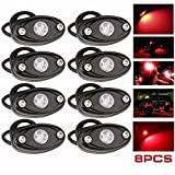 red and blue lights for atv - LEDMIRCY LED Rock Lights Red Kit for JEEP Off Road Truck ATV SUV Car Auto Boat High Power Underbody Glow Neon Trail Rig Lights Underglow Lights Waterproof Shockproof(Pack of 8,Red)