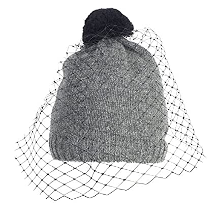 Amazon.com  Autumn Winter Women Knitted Skullies With Veil d4f95b8f31f5