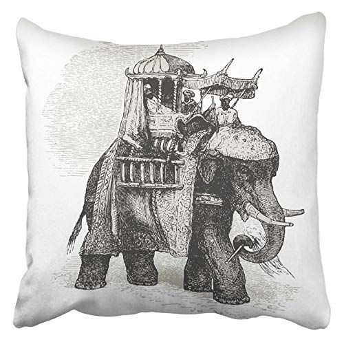 Emvency Decorative Throw Pillow Covers Cases Elephant Vintage Engraved Cent Récits D'histoire Naturelle By C Delon Published in 1889 France 20X20 Inches Pillowcases Case Cover Cushion Two Sided -