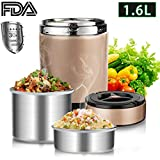 Insulated Lunch Box for Adult Stainless Steel, Vacuum Lunch Containers BPA Free 3 Tiers Thermal Lunch Box, Food Storage Containers, Stackable Bento Box for School Work Camping Picnics(1.6L, Gray)