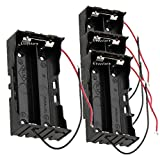 18650 Battery Case Holder, 4 Pcs 2 Slots x 3.7V DIY Battery Storage Box, in Parallel Black Plastic Batteries Case with Wire Lead For Soldering 2 x 18650, By Ltvystore