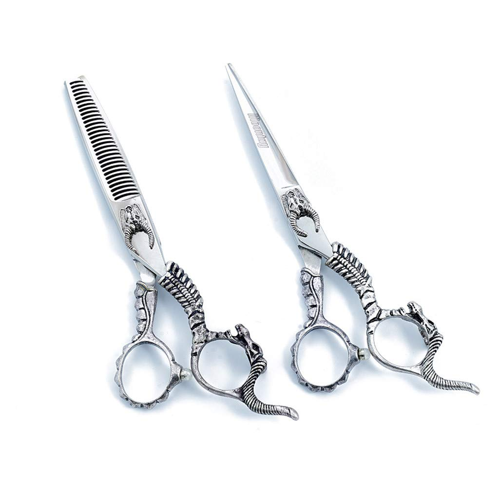 NSST Hair Cutting Scissors 6.0 inch European Retro Grip Tail Personality Modeling Japanese Stainless Steel 440c Steel Family Haircut thinning Scissors Set