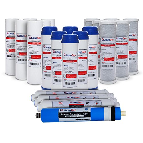 LiquaGen - 5 Stage Reverse Osmosis Replacement Filter Kit w/ 75 GPD Membrane (3 year supply)