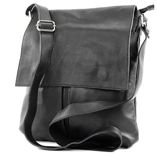 modamoda de ital. Messenger épaule sac sac dames en cuir grande T75 Schwarz