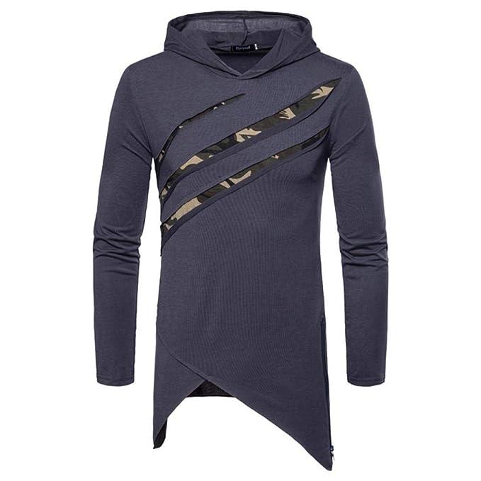 Camisetas para Hombre de Manga Larga con Capucha de Color sólido en otoño e Invierno para