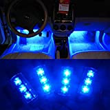 Car Interior Lights,Wanmingtek 12V 12 LED Car Auto Interior Atmosphere Lights Decoration Lamp - Blue