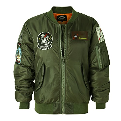(AVIDACE Classic Bomber Jacket Women Nylon Quilted with Patches Size XXL)