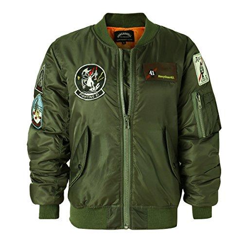 Nylon Jacket Bomber Quilted (AVIDACE Classic Bomber Jacket Women Nylon Quilted with Patches Size XXL Green)