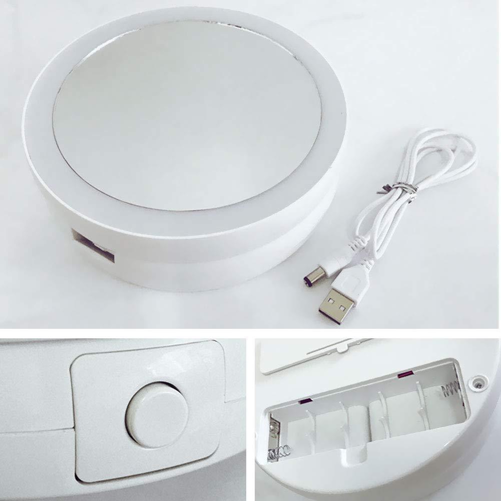 Immoch Espejo Maquillaje con luz LED Espejo cosm/ético Plegable Port/átil Rotaci/ón 360/°Bater/ía//Recargable USB Aumento de 10x