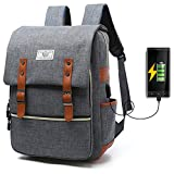 Unisex College Bag Fits up to 15.6'' Laptop Casual Rucksack Waterproof School Backpack Daypacks with USB Charging Port (Gray)