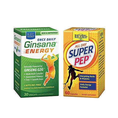 Natural Balance Super Pep & Body Gold Ginsana Energy Bundle | Vitality, Stamina & Focus Formulas | 60ct Pep/30ct Ginsana