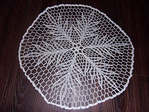 (Snowflake Doily, Handmade Lace Table Covering, Holiday Lace, Seasonal Doily, Edwardian Design, 17 inches)