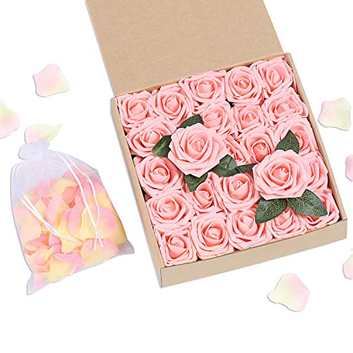 (Bunny Lamb Artificial Roses Handcrafted Wedding Flowers for DIY Wedding Centerpieces Bridal Bouquet Flower Arrangement and Church Hotel Restaurant Home Decorations - 50pcs (Peachy Pink))