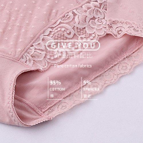 Ropa Interior Atractiva Del Cordón De La Tela De Algodón De Alta Cintura De Los Pantalones De Ropa Interior Femenina 2 Bolsas a4