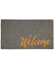 mDesign Rectangular Coir and Rubber Entryway Welcome Doormat with Natural Fibers for Indoor or Outdoor Use - Decorative Script Welcome Design - Grey/Natural