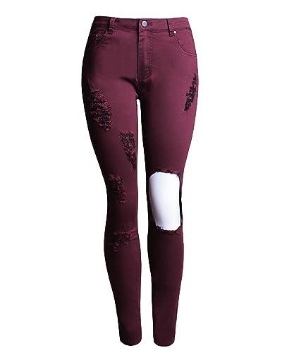 SaiDeng Mujeres Pantalones de Mezclilla Skinny Talle Alto Lápiz Vaqueros del Agujero Vino Rojo 4XL