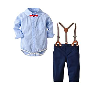 14bddd1d1 Baby Boys Long Sleeve Shirt Gentleman Suspender Pants Clothing Set Overalls  Romper Jumpsuit Clothes Toddler Outfit