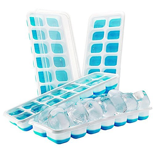 Easy Release Silicone Ice Trays with Clear Spill Proof Lids FDA approved set of 4.