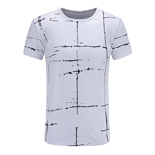 5cbd4e2cb7fba1 Mikkar Mens Stripes T-Shirt Blouse Plus Size Splicing Shirt Short Sleeve  Tops at Amazon Men s Clothing store