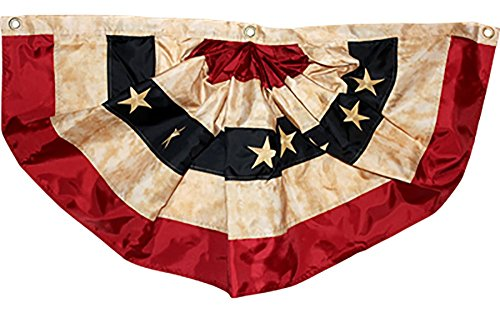 (AES 1.5x3 1.5'x3' Sewn Embroidered USA American Tea Stained Fan Flag Banner Bunting House Banner Grommets Double Stitched Metal Eyelets for Hoisting Fade Resistant Premium Quality)