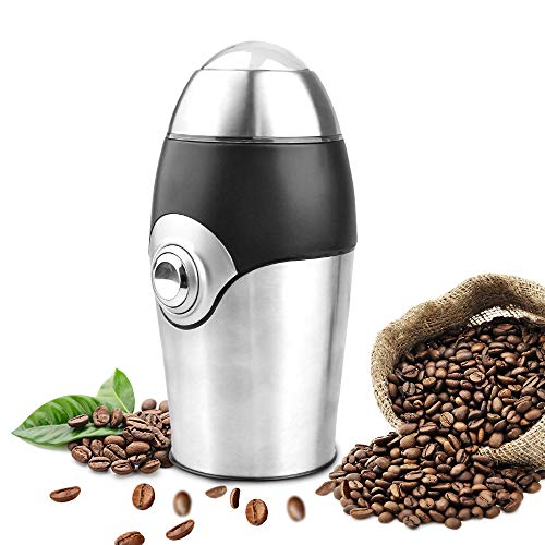 PowCube Electric Coffee Grinder Blade Mill, 8 Cups, 200W Stainless Steel Powder Grinding Machine for Nuts Herbs,Grains, Spices, Sugar, Silver