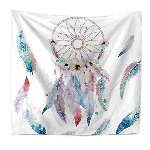 (Sandeye Dreamcatcher Tapestry Wall Hanging Dream Catcher Tapestry Wall Tapestry Hippie Tapestry Psychedelic Tapestry Colorful Bohemian Mandala Feather Tapestry for Bedroom Home Decor)