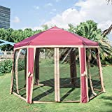Kinbor 12'x10' Outdoor Hexagon Canopy Party Tent Adjustable Instant Pop Up Gazebo Sun Shade Shelter Screen House with Fully Enclosed Mesh Side Wall (12'x 10'with 6 Sidewalls, Red)