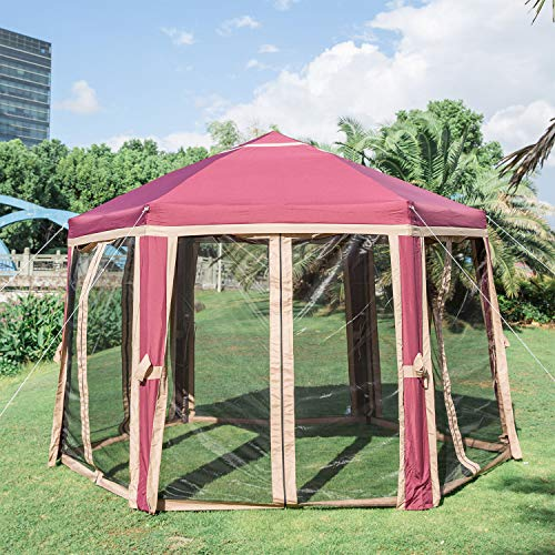 Kinbor 12'x10' Outdoor Hexagon Canopy Party Tent Adjustable Instant Pop Up Gazebo Sun Shade Shelter Screen House with Fully Enclosed Mesh Side Wall (12'x 10'with 6 Sidewalls, ()